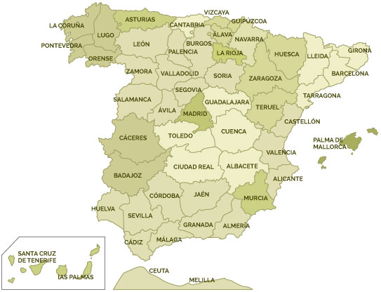 Mapa de España con las Tiendas de Artmobel